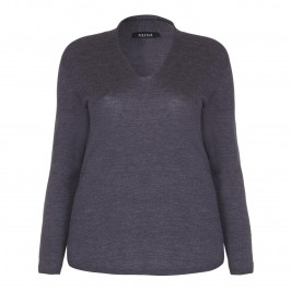 BEIGE v-neck wool SWEATER in charcoal grey - Plus Size Collection