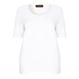 Beige Plus white jersey T SHIRT - Plus Size Collection