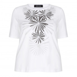 BEIGE LABEL EMBELLISHED SILVER PRINT T SHIRT - Plus Size Collection