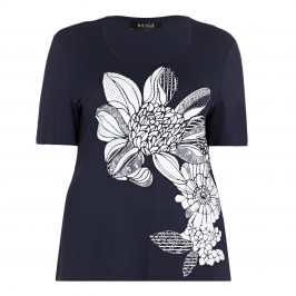 BEIGE label navy embellished flower print  T-SHIRT - Plus Size Collection