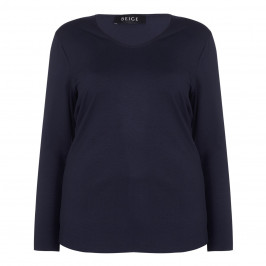 BEIGE label navy jersey TOP - Plus Size Collection