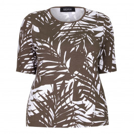 BEIGE label LEAVES PRINT JERSEY TOP - Plus Size Collection