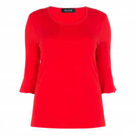 BEIGE LABEL TRUMPET CUFF TOP RED - Plus Size Collection