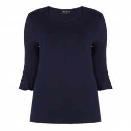 BEIGE LABEL TRUMPET CUFF TOP NAVY - Plus Size Collection