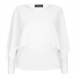 BEIGE LABEL CHIFFON OPEN SLEEVE TOP - Plus Size Collection