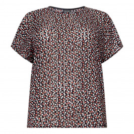 BEIGE LABEL DOTTY PRINT CHIFFON TOP - Plus Size Collection