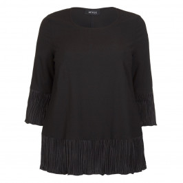 BEIGE LABEL BLACK CRYSTAL PLEATED SATIN HEM JERSEY TOP  - Plus Size Collection