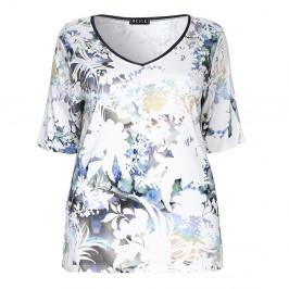 BEIGE label mesh neckline floral print TOP - Plus Size Collection