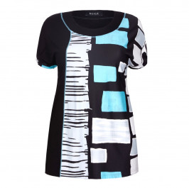 BEIGE label abstract squares print TOP - Plus Size Collection