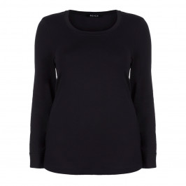 BEIGE LABEL BLACK ROUND NECK TOP - Plus Size Collection