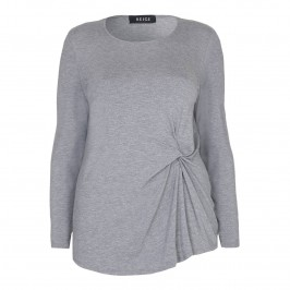 BEIGE TOP with side ruching in grey marl - Plus Size Collection