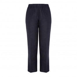 BEIGE LABEL PULL ON LINEN TROUSER NAVY - Plus Size Collection
