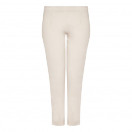 BEIGE LABEL COTTON STRETCH BLEND FULL LENGTH TROUSER IN SAND - Plus Size Collection