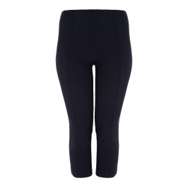 BEIGE LABEL SLIM LEG CROPPED VISCOSE STRETCH TROUSER IN NAVY - Plus Size Collection