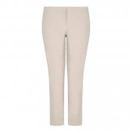 BEIGE NARROW LEG WARM TOUCH TROUSERS IN SAND - Plus Size Collection