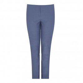 BEIGE NARROW LEG WARM TOUCH TROUSERS IN DENIM BLUE - Plus Size Collection