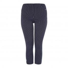BEIGE LABEL NAVY PINSTRIPE STRETCH ANKLE GRAZER - Plus Size Collection