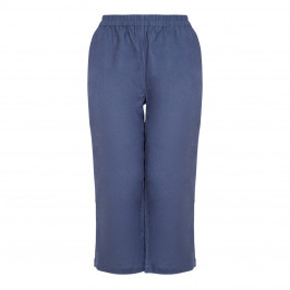 BEIGE LABEL CROPPED PULL ON NAVY LINEN TROUSER - Plus Size Collection