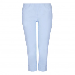 BEIGE label pale blue techostretch cropped TROUSERS - Plus Size Collection