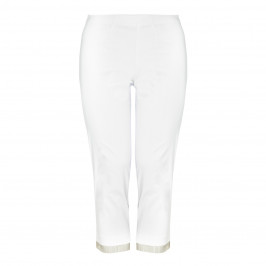 BEIGE label white fringed cropped Trousers - Plus Size Collection