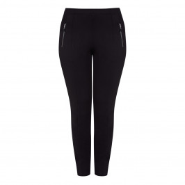 BEIGE JERSEY PULL ON TROUSERS BLACK - Plus Size Collection