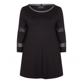 BEIGE LABEL BLACK TUNIC WITH MESH CUFF DETAIL - Plus Size Collection