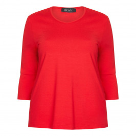 BEIGE LABEL RED FLOUNCE CUFF TOP WITH SIDE STRIPE - Plus Size Collection