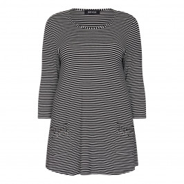 BEIGE LABEL BLACK AND WHITE STRIPE TUNIC WITH FRONT POCKETS - Plus Size Collection