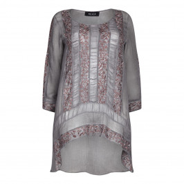 BEIGE LABEL CHARCOAL EMBROIDERED GEORGETTE TUNIC - Plus Size Collection