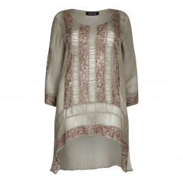 BEIGE LABEL TOFFEE EMBROIDERED GEORGETTE TUNIC - Plus Size Collection