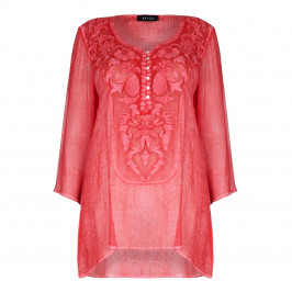 BEIGE LABEL EMBROIDERED BUTTON-DETAIL TUNIC - Plus Size Collection