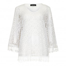 BEIGE fringed white cotton TUNIC - Plus Size Collection