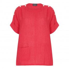 BEIGE LABEL CHEESECLOTH LINEN TUNIC RED - Plus Size Collection