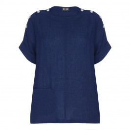 BEIGE LABEL CHEESECLOTH LINEN TUNIC NAVY - Plus Size Collection