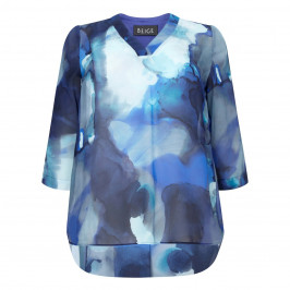 BEIGE LABEL BLUE PRINTED CHIFFON TUNIC - Plus Size Collection