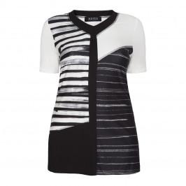 BEIGE label monochrome stripe Tunic - Plus Size Collection