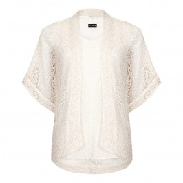 Beige lacey twinset in ivory with gold flecks - Plus Size Collection