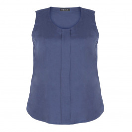 BEIGE LABEL LINEN VEST WITH FRONT PLEAT NAVY - Plus Size Collection