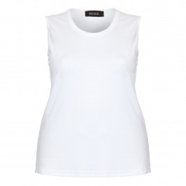 BEIGE LABEL WHITE ROUND NECK JERSEY VEST  - Plus Size Collection