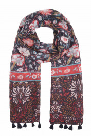 BIJOUX RED AND BLUE FLORAL PRINT SCARF - Plus Size Collection