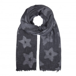 BIJOUX BLACK AND GREY STAR PRINT SCARF - Plus Size Collection