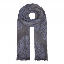 BIJOUX BLACK AND BLUE LEAF PRINT SCARF - Plus Size Collection