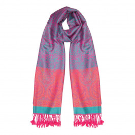 BIJOUX PINK AND BLUE PRINT SCARF - Plus Size Collection
