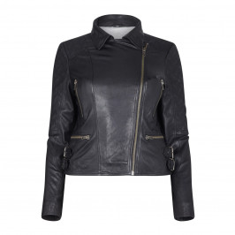 BLUE FROG BLACK LEATHER BIKER JACKET - Plus Size Collection