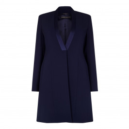 MARINA RINALDI navy SATIN DETAIL CREPE JACKET - Plus Size Collection