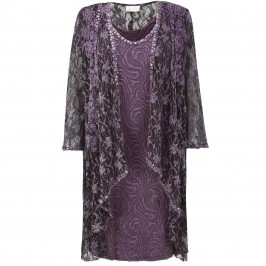 Ann Balon plum lace dress & coat - Plus Size Collection