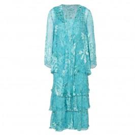 Capri turquoise silk devoré dress and jacket - Plus Size Collection