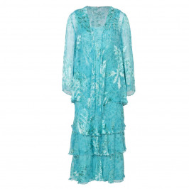 Capri turquoise silk devoré dress and jacket - Plus Size Collection