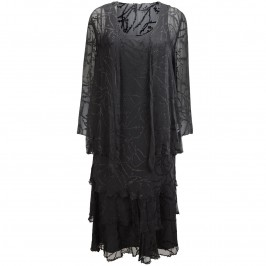 Capri black silk devoré dress and jacket - Plus Size Collection