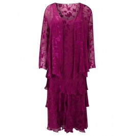 Capri fuchsia silk devoré dress and jacket - Plus Size Collection